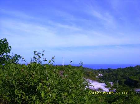 Ocean view, hilly place.